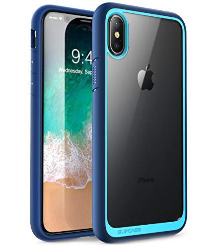 Supcase iPhone X / iPhone XS Hülle Unicorn Beetle Style Handyhülle Transparent Backcover, Blau