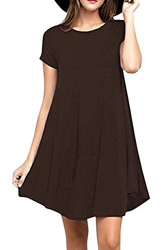 SUNNOW Damen Rundhals Kurzarm Casual Loose T-Shirt Kleid (XL, Kaffee) (T-shirt Kaffee-wert)