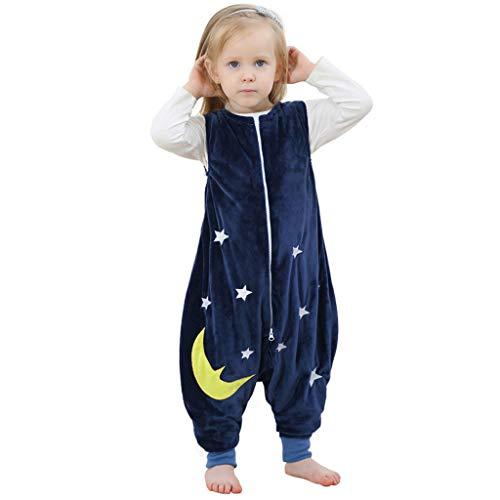 Kobay-Baby Kleinkind Kinderschlafsack Baby Mädchen Cartoon Overall Pyjama Kinder Ärmellos Cartoon Schlafsack Roben (1-6Y) (L / 5-6 Jahre, Dunkelblau)