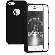 kwmobile Funda para Apple iPhone SE / 5 / 5S - Case completa de TPU y cuero sintético - Cover protector Full Body en negro