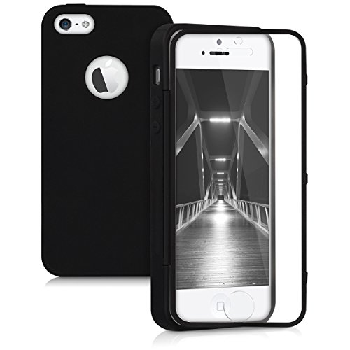 Bedeckt Knopf Vorne (kwmobile TPU Silikon Hülle für Apple iPhone SE / 5 / 5S - Full Body Protector Cover Komplett Schutzhülle Case in Schwarz)