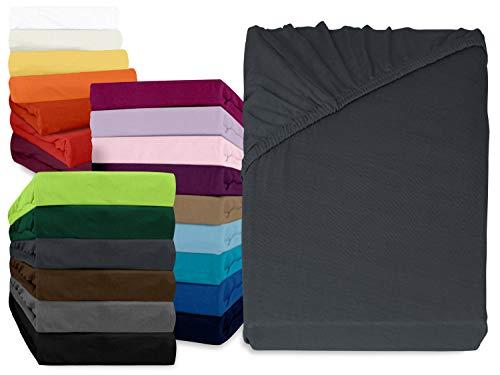 npluseins klassisches Jersey Spannbetttuch - erhältlich in 34 modernen Farben und 6 verschiedenen Größen - 100% Baumwolle, 140-160 x 200 cm, anthrazit (Volle Größe-jersey-bettwäsche)