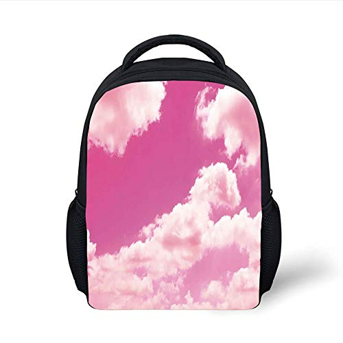Kids School Backpack Coral,Pink Sky with Clouds Conceptual Airy Fantasy Dream Soft Spring Sweet Sunset,Light Coral Pink Plain Bookbag Travel Daypack Hop-pink Camo