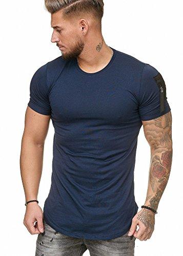 Oversize Herren Vintage T-Shirt Basic Shirt Round Neck Zipper Navy XXL Basic-zipper