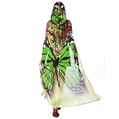 HLHN Halloween Party Kapuzen Umhang, Kürbis Druck Hexe Zauberer Chiffon Karneval Fasching Kostüm Cape mit Kapuze (Grün Schmetterling) (Grüne Hexe Halloween Kostüm)