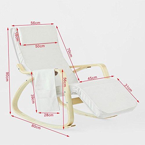 Stillstuhl SoBuy mit Tasche und verstellbarem Fußteil in beige - 3