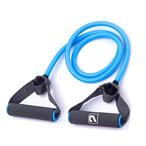 Liveup SPORTS Toning Tube Resistance Bands / Cord Pulley TPR Foam For Exercise Fitness Pilates Strength Training with Foam Handles Blue - 30lb -