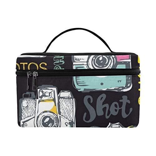Hand gezeichnete Retro-Kamera nehmen Lunchbox Tote Bag Lunch Holder Isolierte Lunch Cooler Bag für Frauen/Männer/Picknick/Bootfahren/Strand/Angeln/Schule/Arbeit