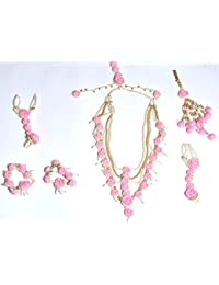 Srms Hand Made Designer Pink Flower White Golden Moti Jewellery Set (Payal, Necklace, Earring, Satka, Maang Tika...