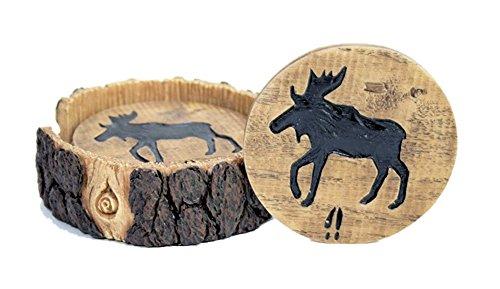 Elch Akzent (Elch Decor Holz und Log Look Untersetzer Set)