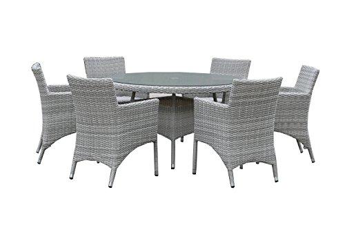 Naunton Manor Sechs-Sitzer Set rund, grau (Runde Woven Top)