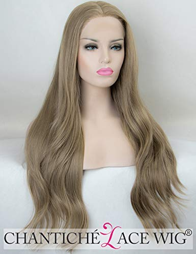 Chantiche Ash Brown Lace Front Wigs for Woman Glueless Light Brown Natural Wavy Synthetic Wig Long with Free Part Heat Resistant -