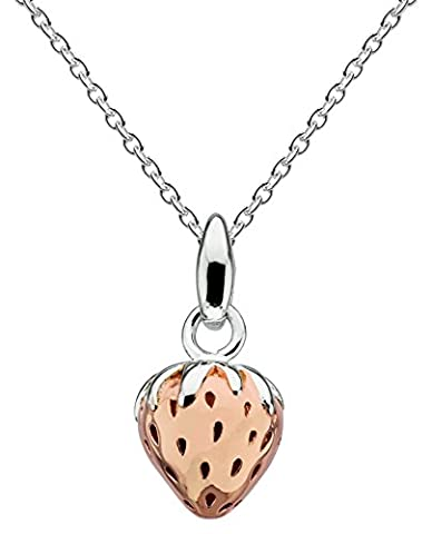Dew Sterling Silver and Rose Gold Plate I Like You Berry Much 3D Strawberry Necklace of Length 45.7 cm - Fragola Collana