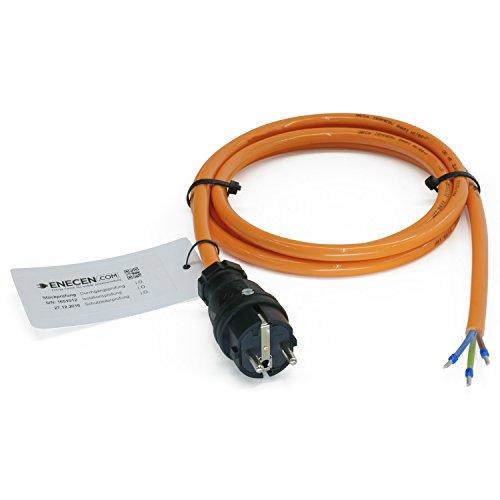 ENECEN 1183205 Anschlusskabel 230V/16A IP44 PUR H07BQ-F 3x2,5 mm² mit Vollgummi-Stecker/freies Ende 5m -