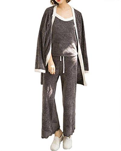 Sexy Loungewear (Frauen Winter sexy 3-teilige Pyjama Set und camisole Damen weich verdicken Loungewear , grey , one size)