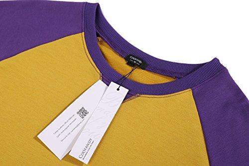 Coofandy Herren Langarmshirt Sweatshirt Freizeit Sport Pullover Loose Fit Knotrastfarben mit 2-Tone Raglan Gelb