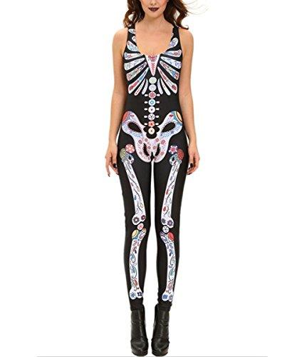 DuuoZy Frauen Sexy 3D Skelett gedruckt Kostüm Catsuit Rolle spielen Club tragen ärmellosen Overall (Pass Halloween Kostüm)