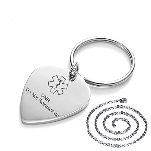 LiFashion LF Kundenspezifischer Edelstahl medizinischer Alarm DNR Keychain Do Not Resuscitate Identifikation GitarrenAuswahl Schlüsselring Umbau Halsketten Anhänger Satz,Freies Stich Respekt Leben -