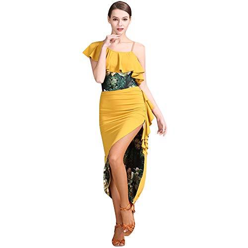 Dance Kleid Composite Doppel Rock Latin Dance Rock Set Nylon EIS Seide Stoff Praxis Kostüm Erwachsene Performance Rock,Yellow,M ()