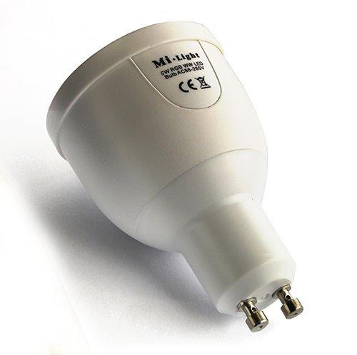 GU10 LED Smart RGBW Farbwechsel-Glühbirne von Home-Wize®. Warmweiß Fernbedienung Volldimmbare Glühbirne. Kompatibel mit Home-Wize® oder Mi-Light Wi-Fi Controllern
