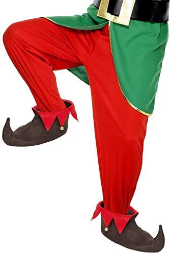 Damen Herren Jingly Brown Red Festliche Elfe Santas Helper Weihnachten Neuheit Fancy Dress Schuhüberzug