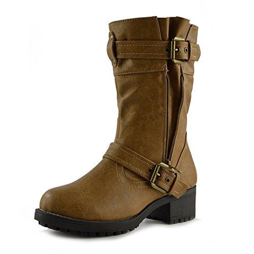 Kick Footwear Damen Schnalle Mitte Wade Gleiten auf Slouch-Stiefel Biker-Flache Reißverschluss-Stiefeletten - UK 4/EU 37, Tan, Biker Style Military Ankle Boots (Mitte Stiefel Schnalle Wade)