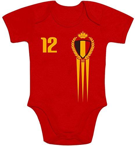 Shirtgeil België Belgien Fanartikel für Babys zur WM 2018 Baby Body Kurzarm-Body 57/68 (3-6M) Rot