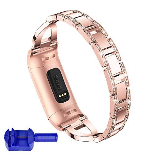 Qianyou Für Fitbit Charge 3 Metallarmband, Fitbit Charge3 Diamant Damen Ersatzband Elegant Strass Armbänder Kristall Edelstahl Gliederarmband mit Regler verstellbar Armband 6.1''-9.9'' Rosegold