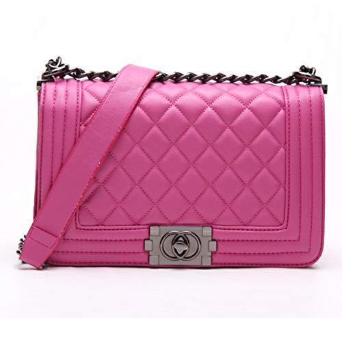 Preisvergleich Produktbild Neue europäische und amerikanische Mode Damen Tasche Lingge Tasche Kette Tasche Temperament Umhängetasche Messenger Bag (Rose rot, 24 * 20 * 11cm)