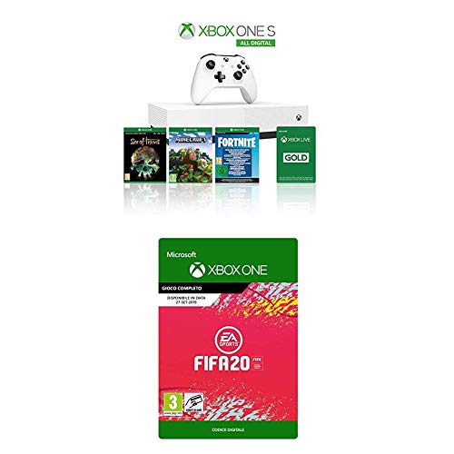Xbox One S 1TB - All Digital Edition + 3 Digital Games (Sea of Thieves, Minecraft, Fortnite Legendary Evolving Skin & 2000 V-Bucks) + FIFA 20