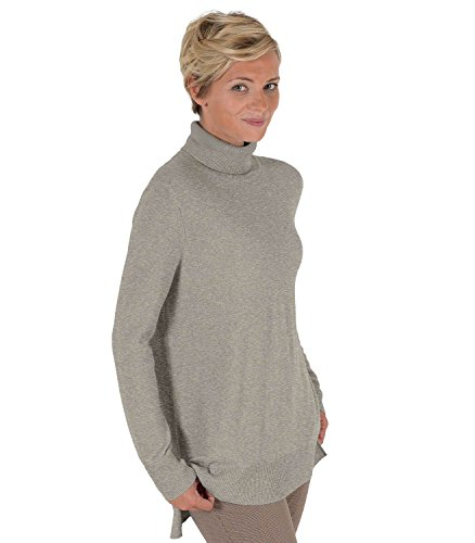 Womens Pure Cashmere Chunky Roll Neck Jumper Dove Grey, M