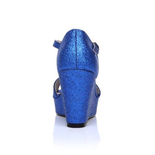 Scarpe con Tacco a Zeppa molto alto e Plateaux aperte in punta, Brillantini Blu, LACIE Brillantini Blu