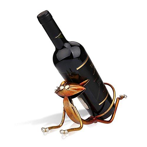 Edelstahl Wein Halter Stand Weinflaschenhalter Weinregal Rack Stand Holder Katze (Katze C)