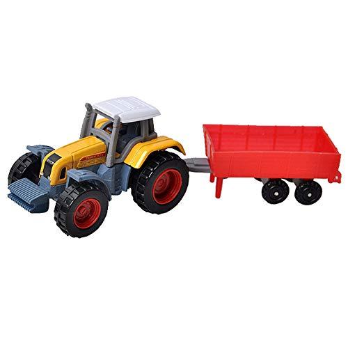 Aomili Legierungstechnik Traktor Spielzeug Fahrzeug Bauernhof Fahrzeug Junge Traktor Spielzeug, Tractor Toy mit Anhänger, Spielfahrzeug mit Trecker und Hänger für Kinder (14×4.5×4.5cm)