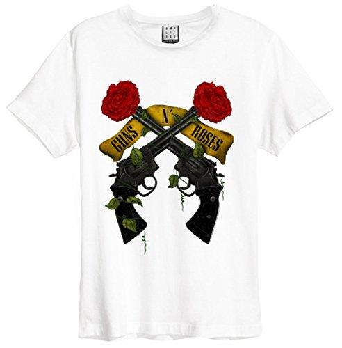 Amplified Guns n Roses Shooting Roses T-Shirt White