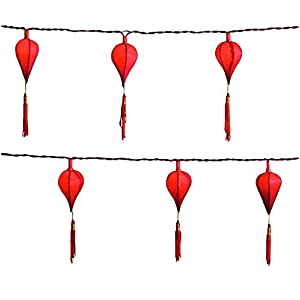 Konstsmide Indoor Decoration Paper Chinese Lanterns with Tassels Set of 10 - Red