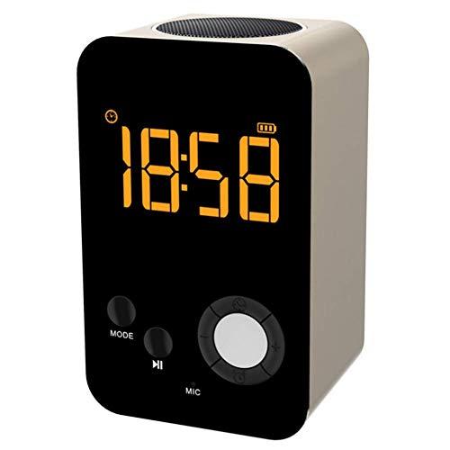 YQ Kabelloser Bluetooth-Lautsprecher mit Wecker, MP3-Player, tragbares LED-Nachtlicht, Snooze-Funktion, 24-Stunden-Zeitanzeige,Gold