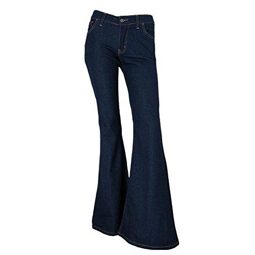 Fans London - Damen Schlaghosen mit Stretch - Jeans im 70er Stil - Indigo - 42