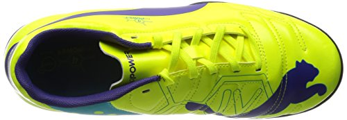 Puma Evopower 4 Tt, Chaussures de football homme Orange (Fluro Yellow-Prism Violet-Scuba Blue 04)