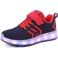 GJRRX Zapatos Led Niños Niñas Deortivos para 7 Color USB Carga LED Luz Glow USB Flashing Zapatillas Niño 27-37 (Rosa Negro Azul Rojo)