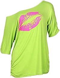 bfd245f16cb2f8 Smile Fish Damen Casual Sternchen Lippen Drucken One-Shoulder T-Shirt  Langarm Rundhals Oversize