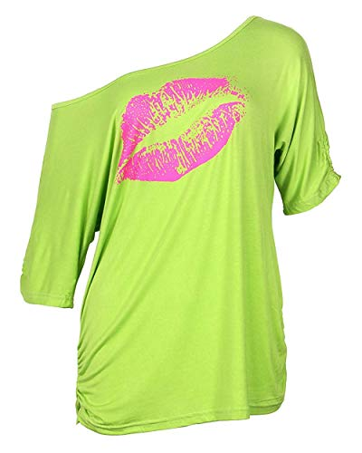 Ladies 80s Off One Shoulder Sexy Lips Oversized T-shirt, S to XXL