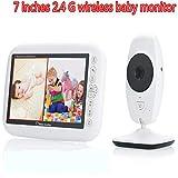 BABIFIS Dispositivo inalámbrico para el Cuidado de monitores de bebés 2.4G de 7 Pulgadas, intercomunicador de Dos vías, Audio bidireccional, visión Nocturna, activación de Sonido