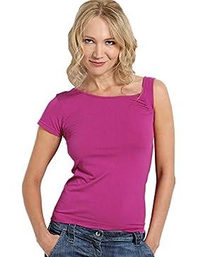 SENSI' Camiseta Mujer Escote Mangas Asimétricos Made in Italy GENESI Seamless