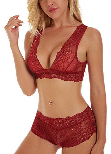 Uni-love Sexy Lingerie für Frauen Nachtwäsche Babydoll Sexy Camisole Lingerie Set (S, Rot) (Schiere Ärmel Lange Robe)