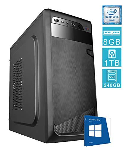PC DESKTOP COMPUTER FISSOSSD E LICENZA WINDOWS 10 PROASSEMBLATO COMPLETO Intel QUAD-CORE fino a 2.3 GHZRAM 8GBSSD + HD 1TBDILC GREEN HIGH