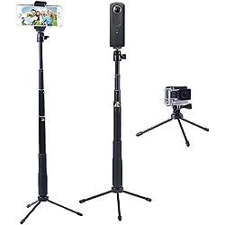 YiSeyruo Selfie Stick monopiede estensibile con supporto per treppiedi per GoPro Fusion, Hero 6/ 5/4/3 + / 3/2/1 / Sessione, Samsung Gear 360,4K Azione Fotocamera, Ricoh 360, Olympus, M15,Sony RX0 Fotocamera e Cellulari