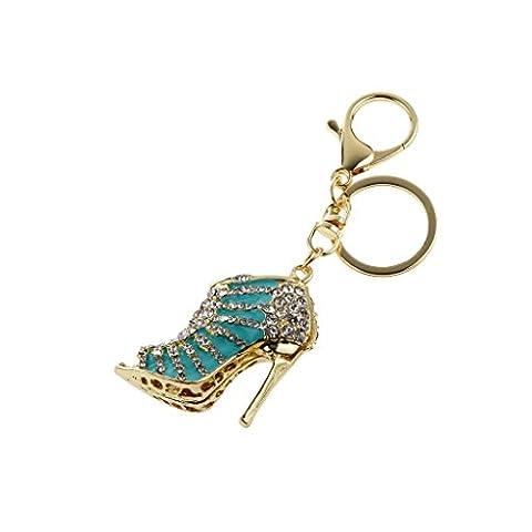 Cristal Pendentif Blue Clair Chaussure à Talon Haut Porte-clés Accessoire Sac à Main Mode Fille Femme