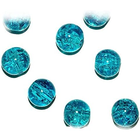 Just Say Beads - Perline rotonde in vetro turchese con screziature per gioielli, 8 mm, 40 pezzi (Ref:13A11)