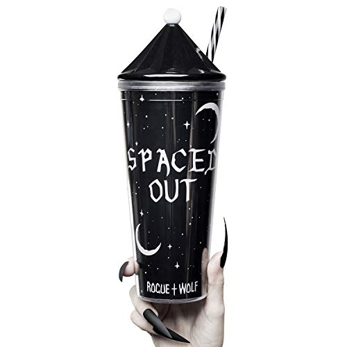 Isolierter doppelwandiger Acrylbecher mit Strohhalm und 2 austauschbaren Deckeln, süße Reisetasse, wiederverwendbar, Smoothie-Tasse für warme, kalte Braue, Eis, Kaffee, Tee, Saft, Latte Spaced Out